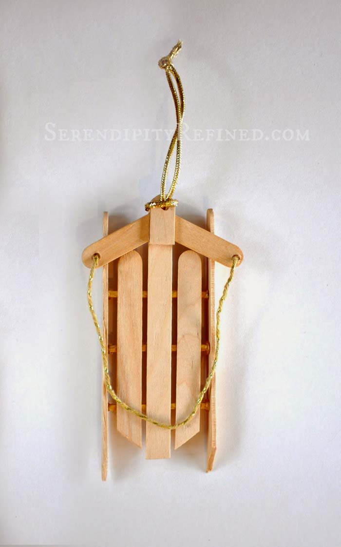 Simple Wood Sled Ornament