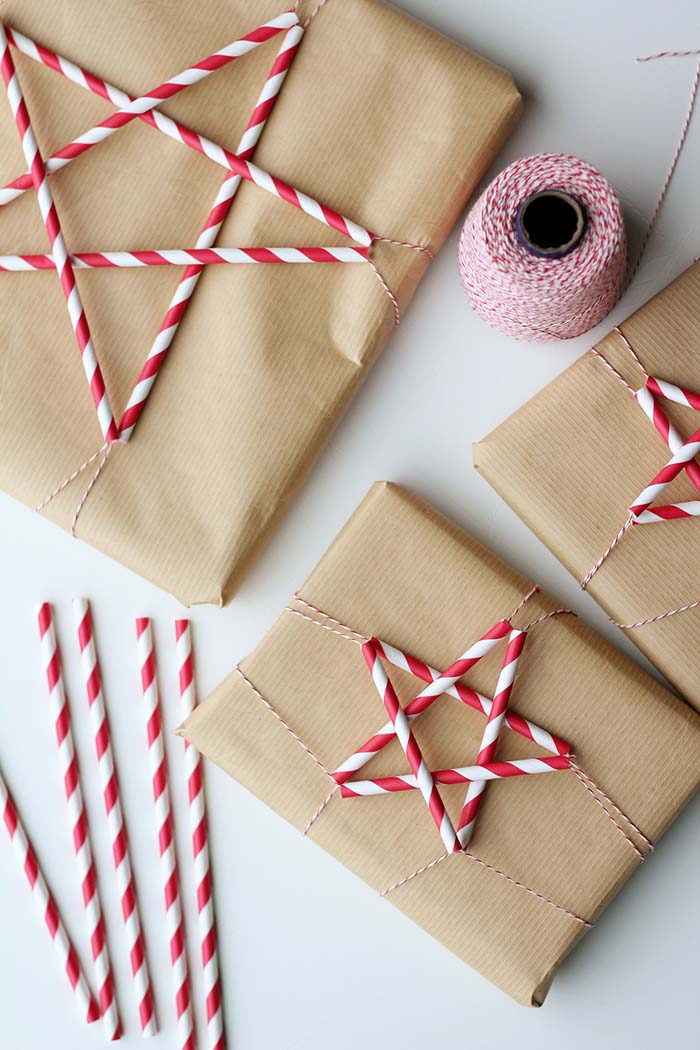 Star Straws #Christmas #diy #gift #wrapping #decorhomeideas