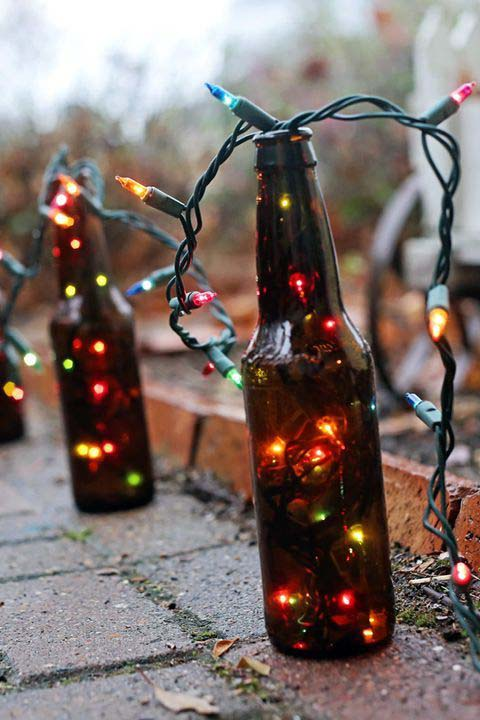 Beer Bottle Christmas Lights #Christmas #diy #lights #decorhomeideas