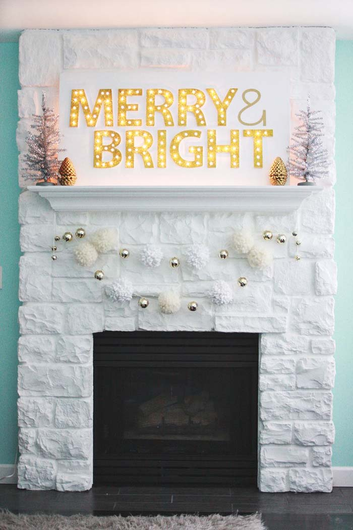 Christmas Light Marquee Sign #Christmas #diy #lights #decorhomeideas