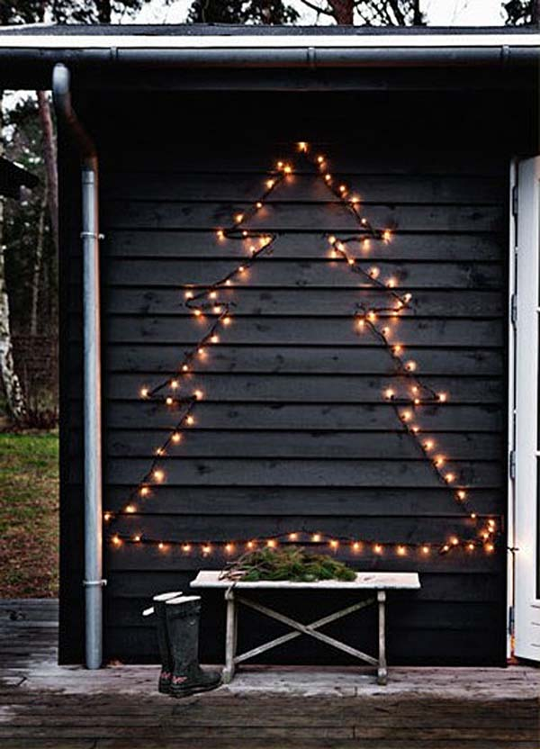 Christmas Lights Tree #Christmas #diy #lights #decorhomeideas