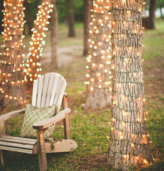 Christmas Lights Wrapped Around Trees #Christmas #diy #lights #decorhomeideas