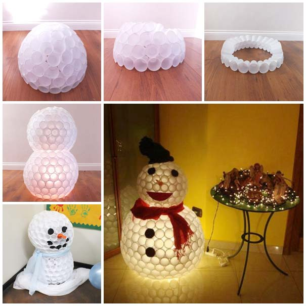 DIY Snowman from Plastic Cups #Christmas #diy #lights #decorhomeideas