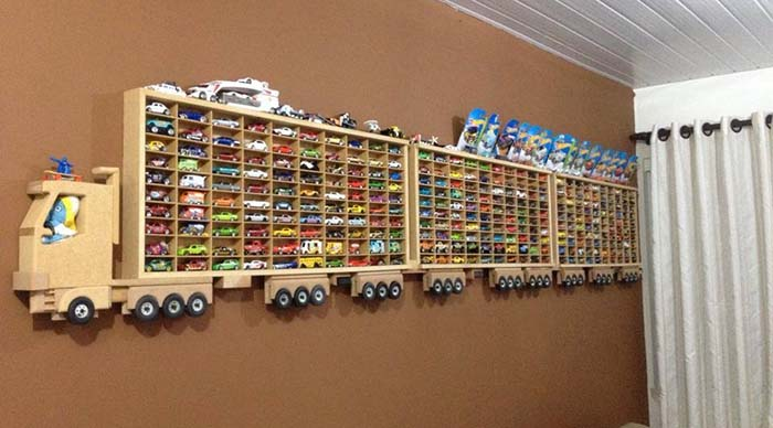 DIY Wooden Truck Hot Wheels Display Rack #diy #walldecor #toystorage #decorhomeideas