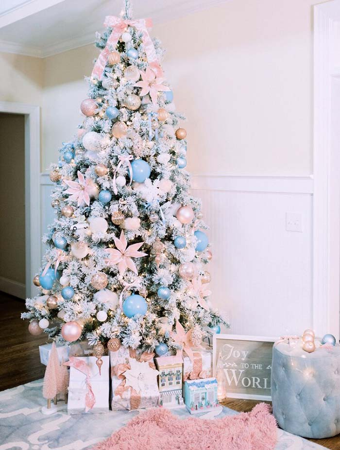 Flocked Pastel Rose Gold Christmas Tree