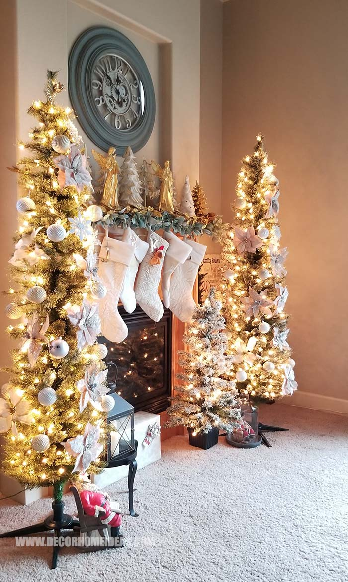 Gold And Silver Christmas Mantel Decorations #Christmas #mantel #decorations #decorhomeideas