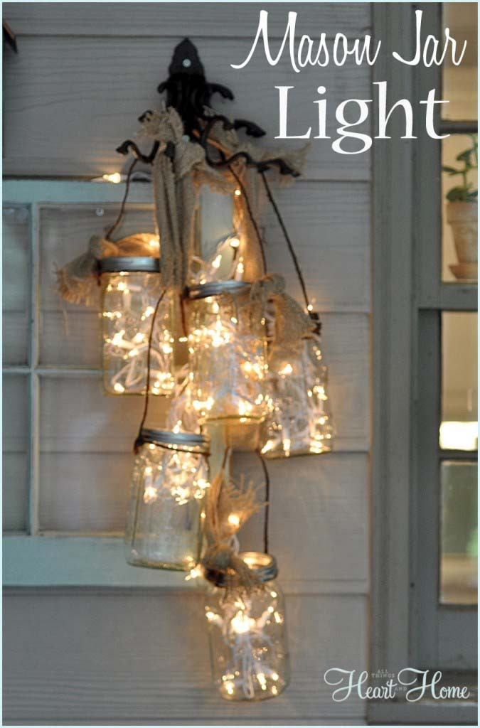 Mason Jar Light DIY #Christmas #diy #lights #decorhomeideas