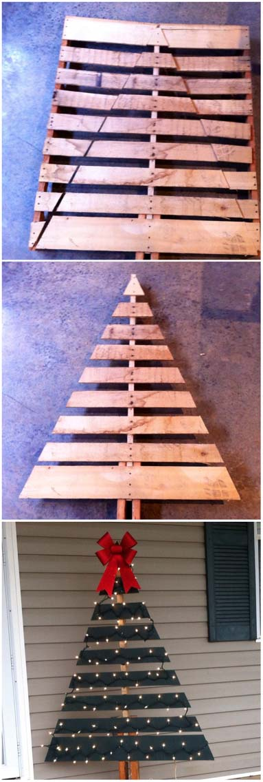 Pallet Christmas Tree #Christmas #diy #lights #decorhomeideas