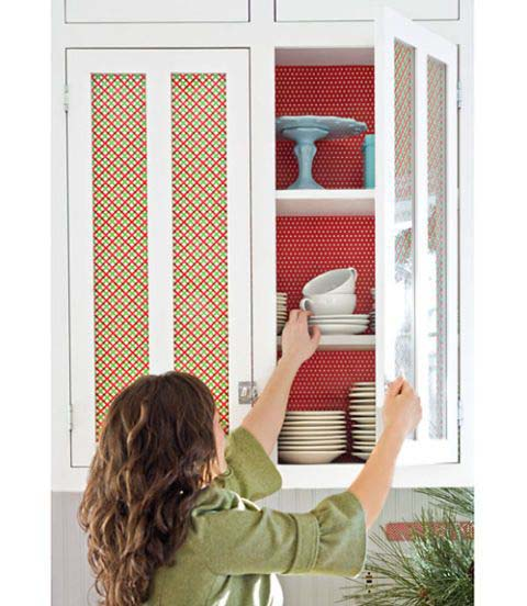 Wrapping Paper Cabinets #Christmas #kitchen #decoration #decorhomeideas