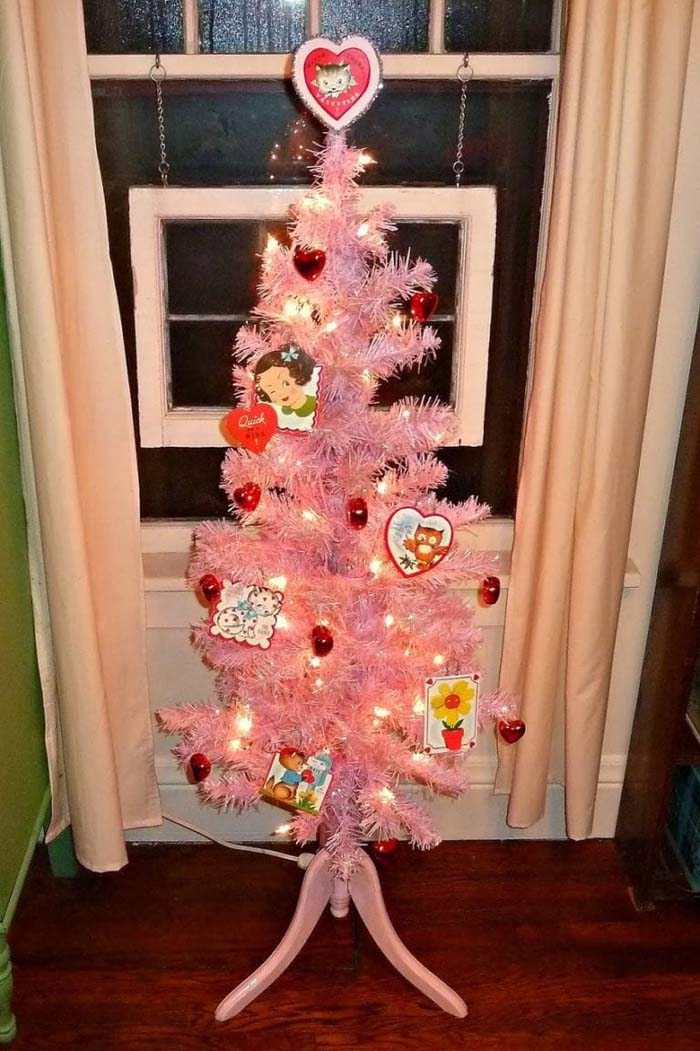 All Pink Valentine Tree #valentine #tree #diy #decorhomeideas