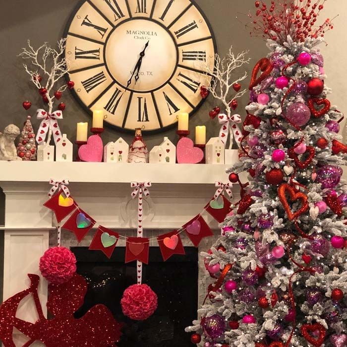 Amazing Valentine Tree Decoration #valentine #tree #diy #decorhomeideas
