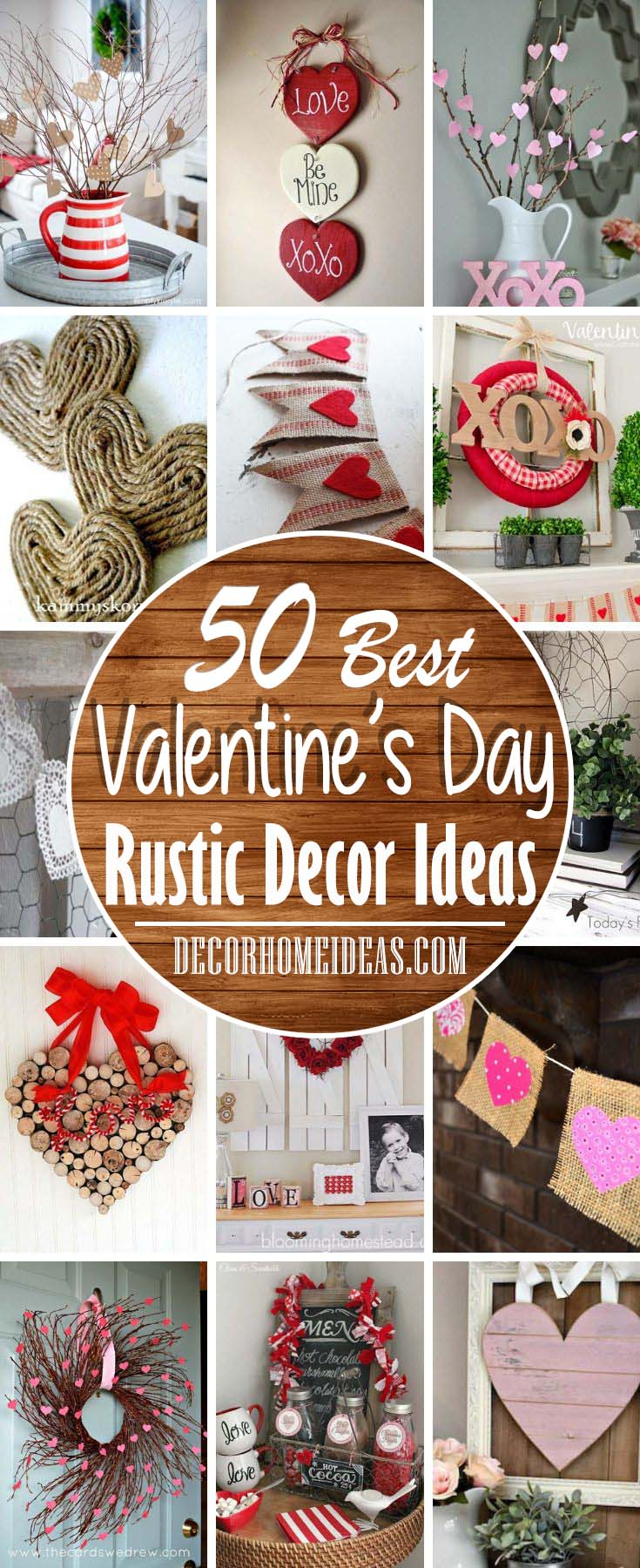 Best DIY Rustic Valentines Day Decor Ideas. #diy #rustic #valentinesday #decor #decorhomeideas