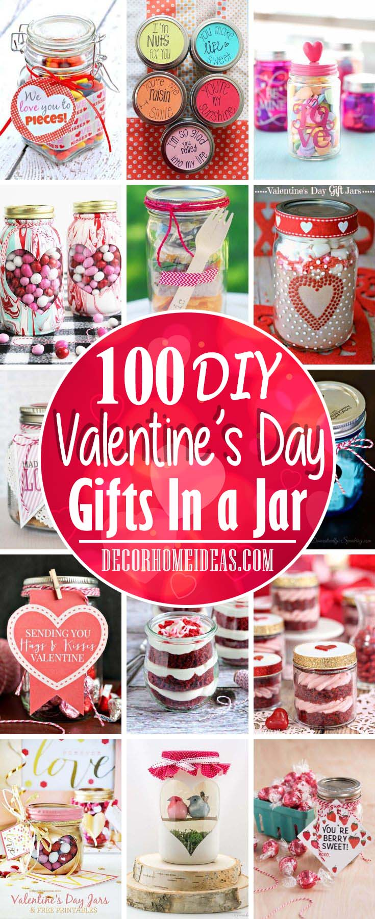 Best DIY Valentine's Day Gifts In A Jar. Make your loved one a gift in a jar with these collection of DIY tutorials. #diy #valentinesday #jar #gift #decorhomeideas