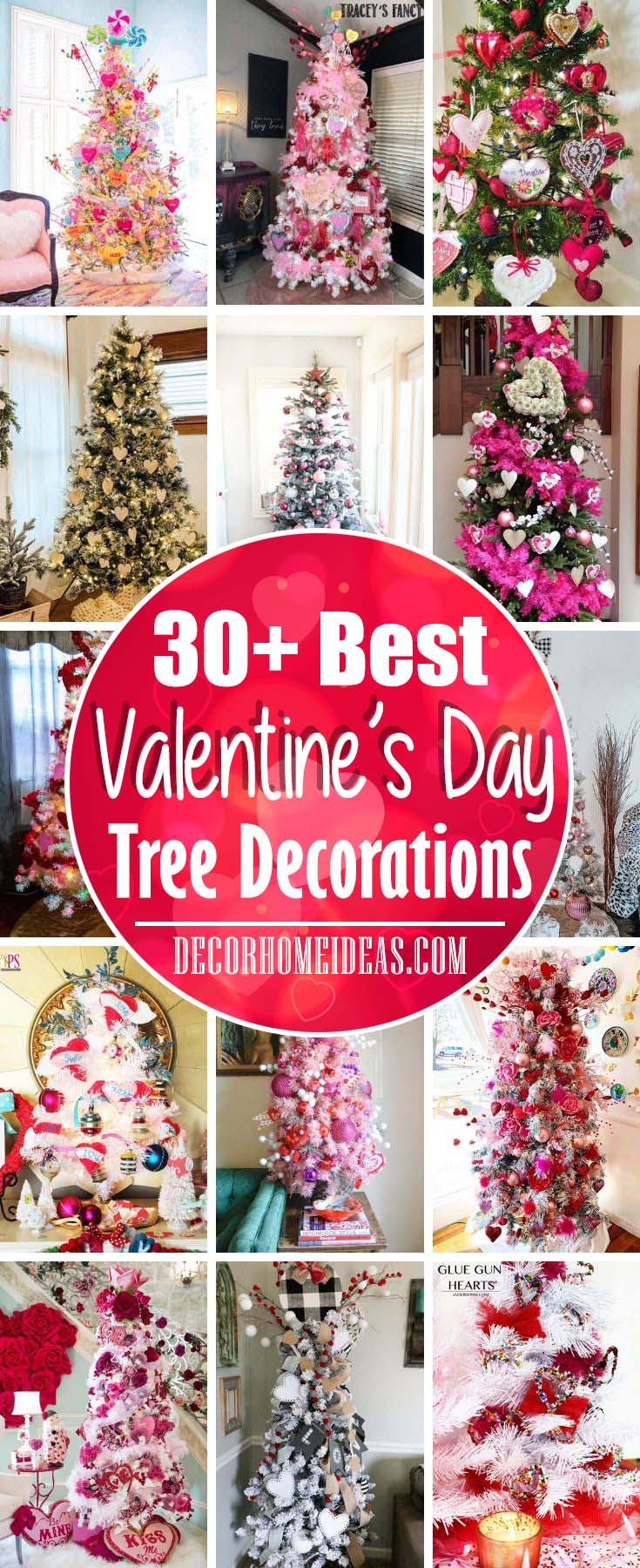 Best Valentine Tree Decorations. Valentine's Day trees decorated in pink and red or with rustic look. #diy #valentine #tree #decorhomeideas