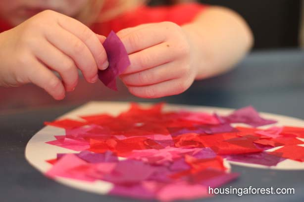 Bleeding Tissue Paper Heart #valentine #crafts #kids #decorhomeideas