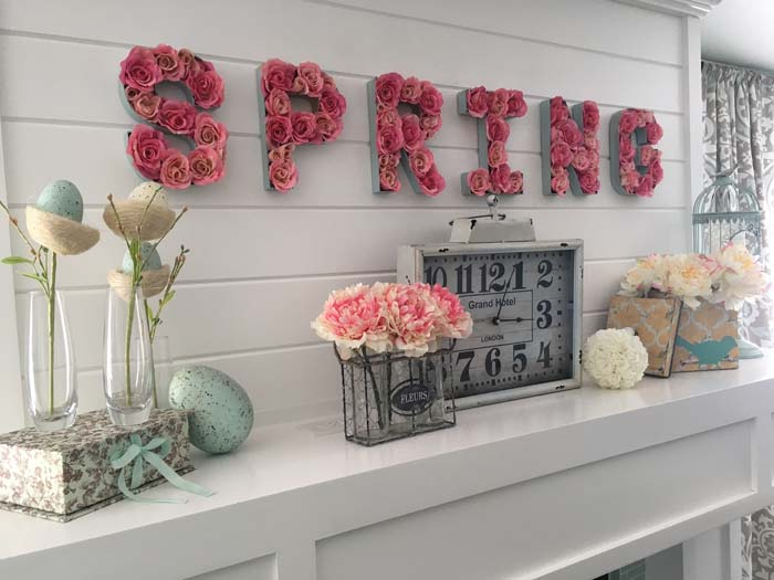Blooming Flowers Mantle #valentine #dollarstore #diy #decor #decorhomeideas