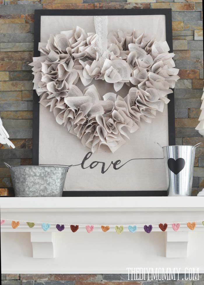 Book Page Heart Wreath #valentine #dollarstore #diy #decor #decorhomeideas