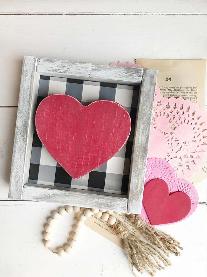 Buffalo Check Valentines Day Mini Sign #valentine #dollarstore #diy #decor #decorhomeideas