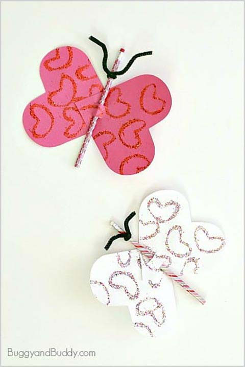 Butterfly Pencil Valentines #valentine #crafts #kids #decorhomeideas
