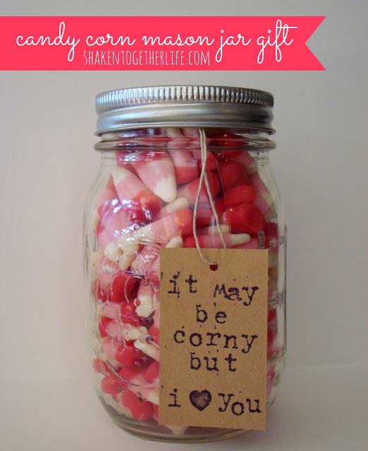 Candy Corn Valentine Gift in a Jar #valentinesday #crafts #jars #gifts #decorhomeideas