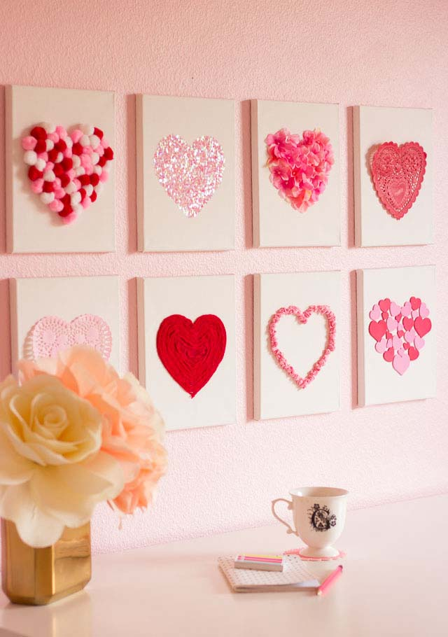 Canvas Heart Art #valentine #dollarstore #diy #decor #decorhomeideas