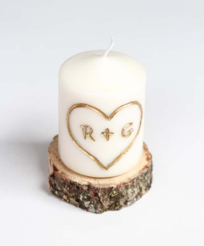 DIY Candle Carved with Initials #valentinesday #gifts #diy #decorhomeideas