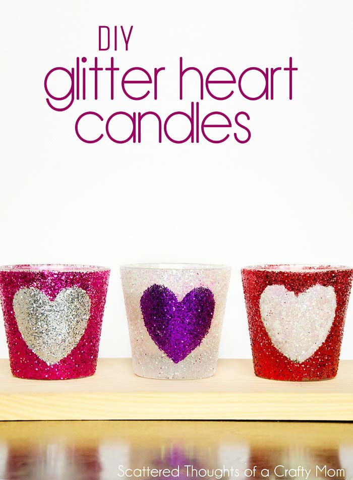 DIY Glitter Heart Candles #valentine #dollarstore #diy #decor #decorhomeideas