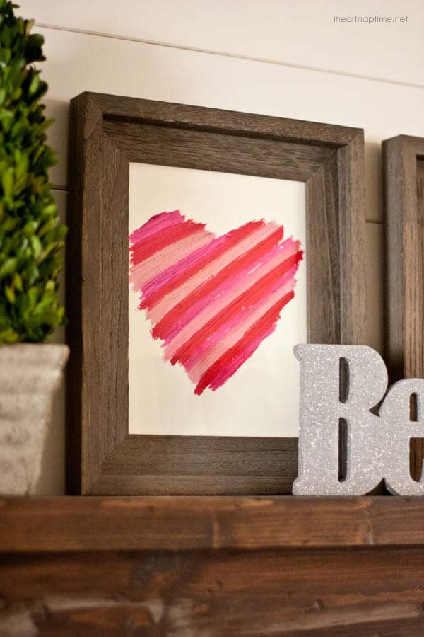 DIY Lipstick Art Idea #valentinesday #gifts #diy #decorhomeideas