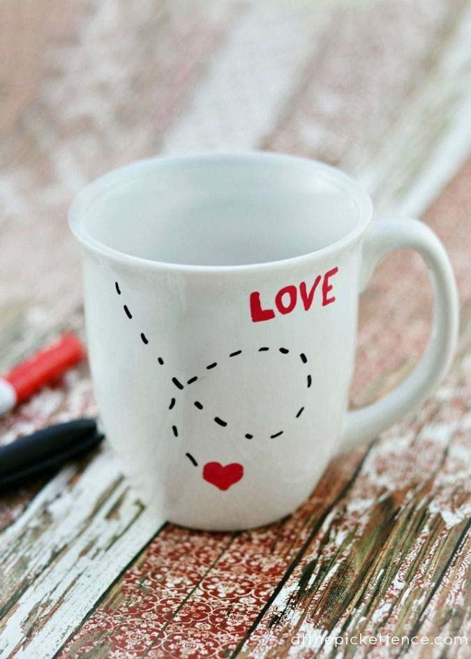 DIY Love Mug #valentinesday #gifts #diy #decorhomeideas
