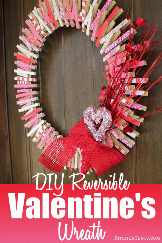 DIY Reversible Clothespin Valentines Wreath #diy #clothespin #wreath #crafts #decorhomeideas