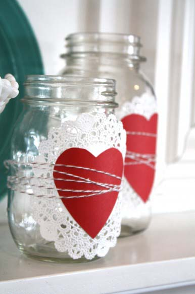 Doily and Heart Mason Jars #valentine #dollarstore #diy #decor #decorhomeideas