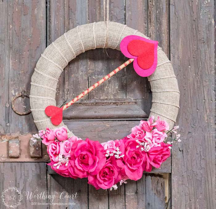 Dollar Store Valentine's Day Wreath #valentine #diy #wreaths #decorhomeideas