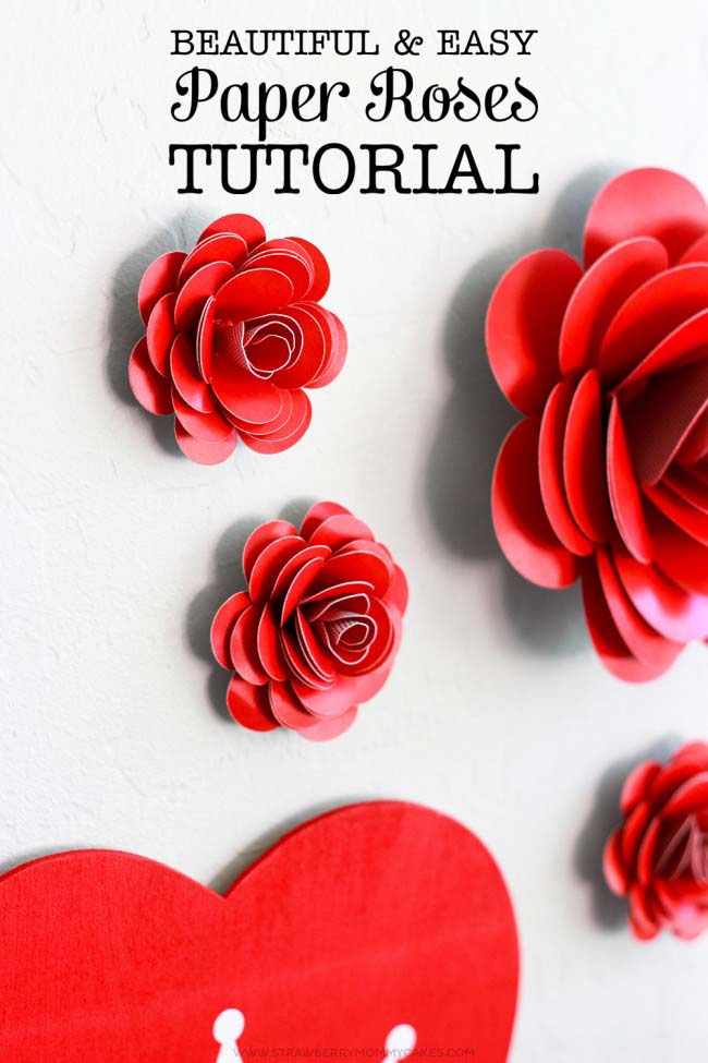 Easy Paper Roses #valentine #dollarstore #diy #decor #decorhomeideas
