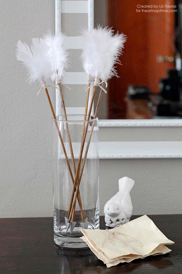 Feathered Arrow Valentine Decor #valentine #dollarstore #diy #decor #decorhomeideas