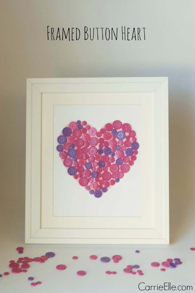 Framed Button Heart Wall Art #valentine #crafts #kids #decorhomeideas