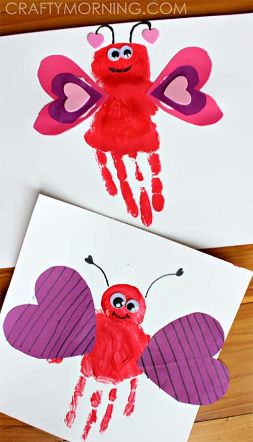 Handprint Love Bug #valentine #crafts #kids #decorhomeideas