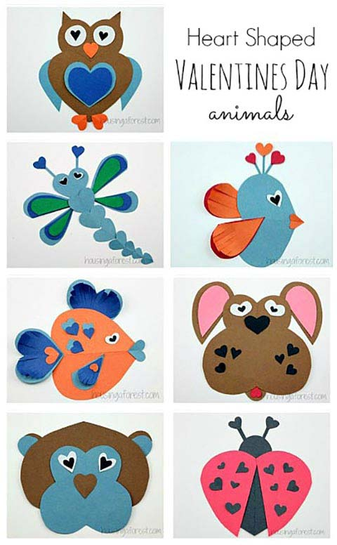 Heart Shaped Animals Valentine Craft Ideas #valentine #crafts #kids #decorhomeideas