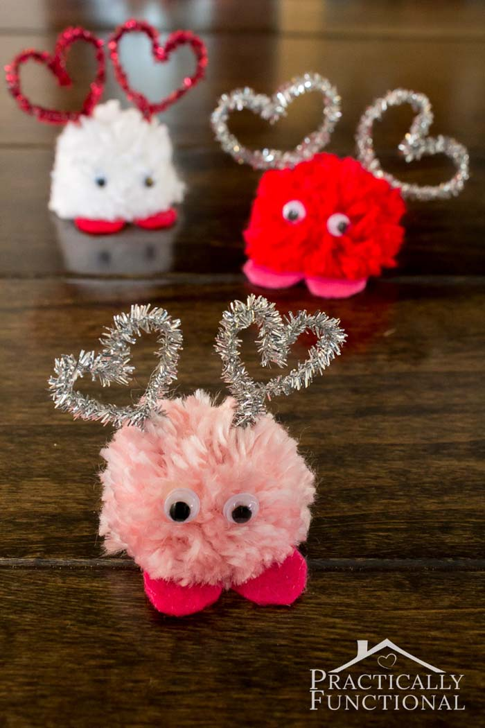 How To Make Valentines Day Pom Pom Monsters #valentine #crafts #kids #decorhomeideas