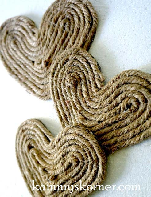 Jute Heart Embellishments #valentinesday #rustic #decor #diy #decorhomeideas