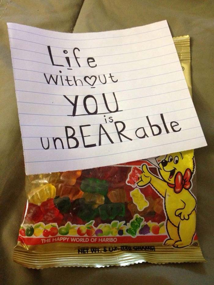 Life Without You Is UnBEARable Gummy Bears #valentinesday #gifts #diy #decorhomeideas