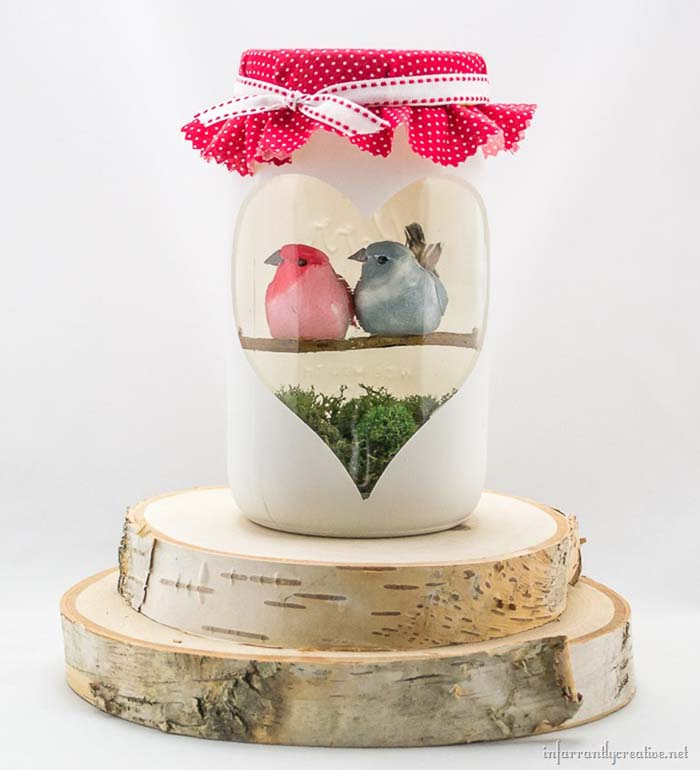Love Birds Valentines Day Craft #valentinesday #crafts #jars #gifts #decorhomeideas