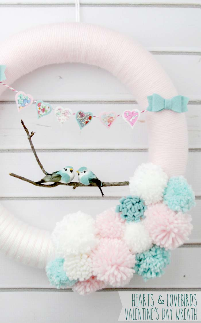 Love Birds Wreath #valentine #diy #wreaths #decorhomeideas