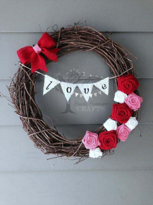 Love Grapevine Wreath #valentinesday #rustic #decor #diy #decorhomeideas