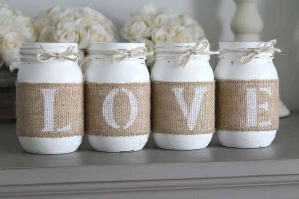 Love Mason Jars #valentinesday #rustic #decor #diy #decorhomeideas