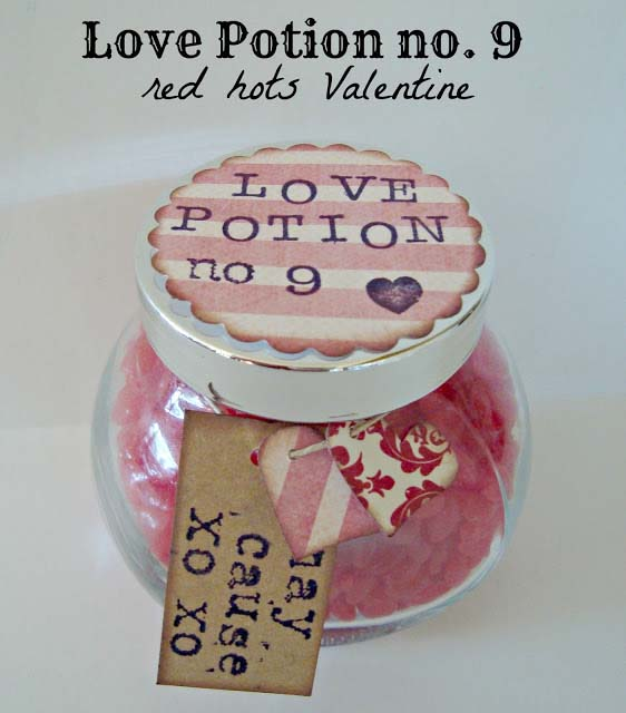 Love Potion Red Hots Valentine #valentinesday #crafts #jars #gifts #decorhomeideas