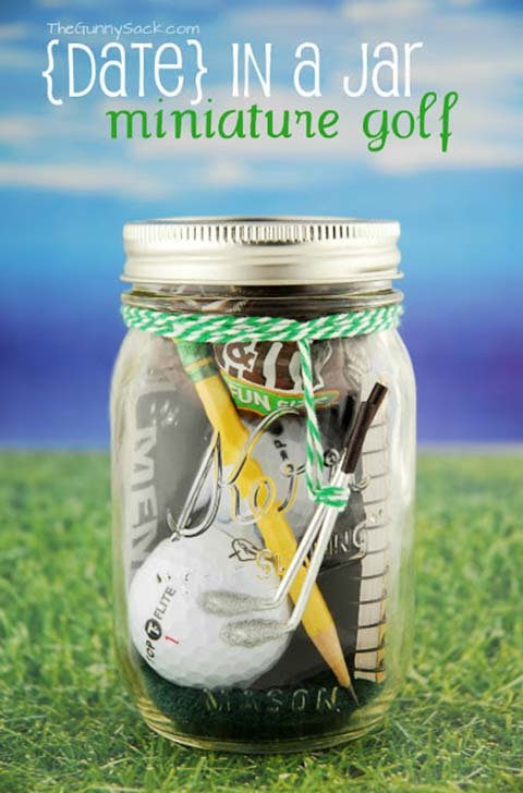 Mini Golf Date In A Jar #valentinesday #crafts #jars #gifts #decorhomeideas