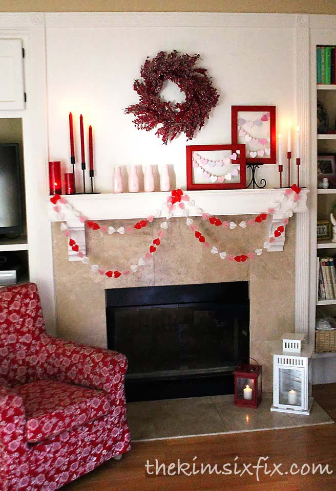 Paper Heart Mantel Decor #valentine #dollarstore #diy #decor #decorhomeideas