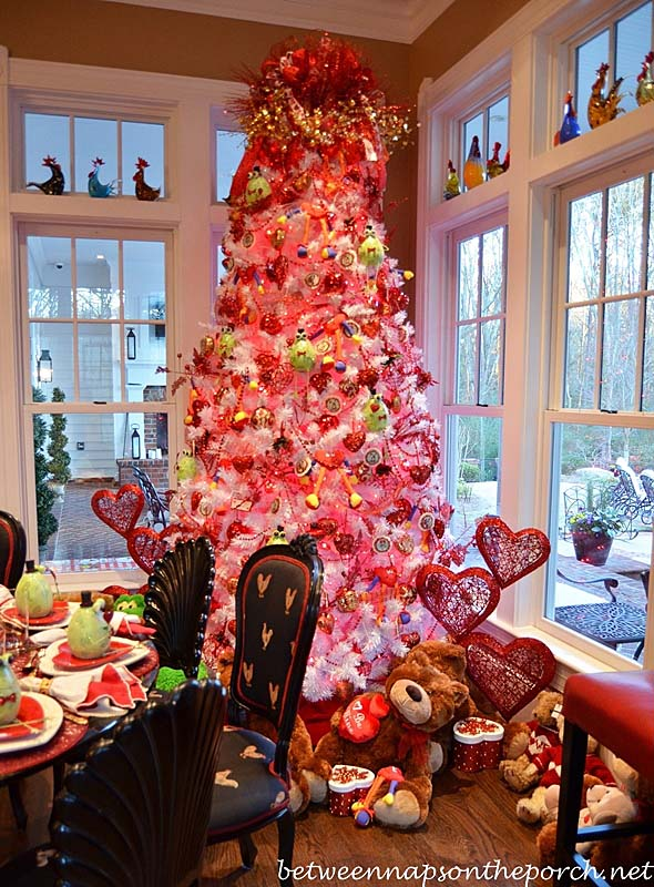 Pink and White Valentine Tree #valentine #tree #diy #decorhomeideas