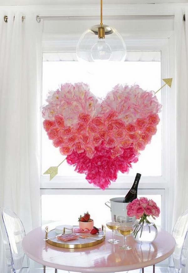 Pink Rose Red Heart Wreath #valentine #dollarstore #diy #decor #decorhomeideas