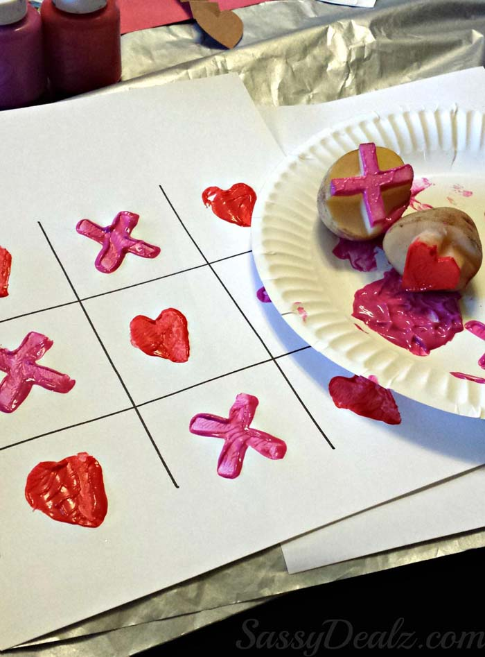 Potato Valentines Stamping #valentine #crafts #kids #decorhomeideas